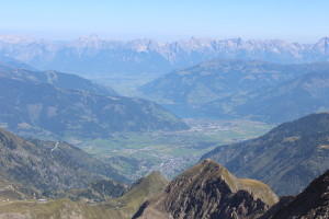 View from top of Kitzsteinhorn looking back at Lake Zell